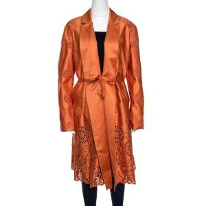 Rochas Orange San Gallo Eyelet Embroidered Duchesse Satin Belted Overcoat L