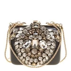 Rochas Black Leather Crystal Embellished Clutch