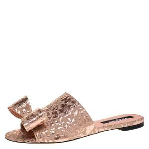 Rochas Beige/Rose Gold Floral Brocade Fabric Bow Embellished Flat Mule Slides Size 38