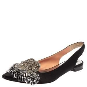 Rochas Black Satin Embellished Flat Slingback Sandals Size 36