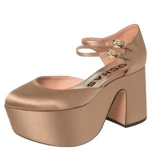 Rochas Beige Satin Platform Ankle Strap Pumps Size 39