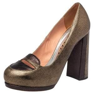 Rochas Metallic Bronze/Brown Leather Block Heel Loafer Pumps Size 39