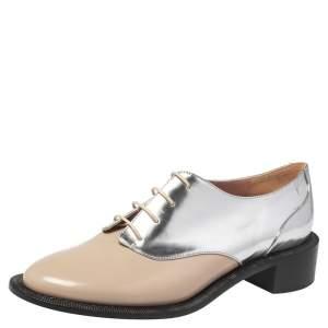 Rochas Metallic Silver/Beige Leather Lace Up Derby Size 39