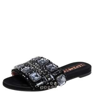 Rochas Black Suede Crystal Embellished Slide Flats Size 39