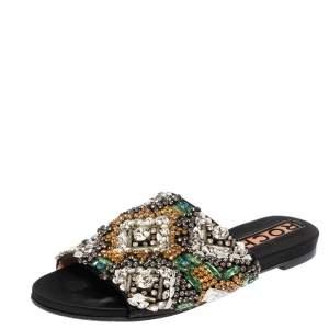 Rochas Black Satin Crystal Embellished Slide Flats Size 39