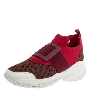 Roger Vivier Maroon/Brown Neoprene Fabric Viv' Run Sneakers Size 40
