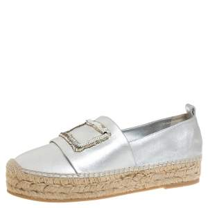 Roger Vivier Metallic Silver Bead and Sequin Embellished Espadrille Flats Size 39