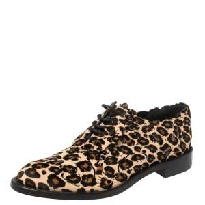 Roger Vivier Brown Animal Print Calf Hair Laser Cut Lace Up Derby Oxford Size 40