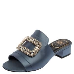 Roger Vivier Grey Satin Embellished Sandals Size 37