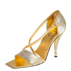 Roger Vivier Silver/Gold Satin And Leather Open Toe Ankle Strap Sandals Size 40