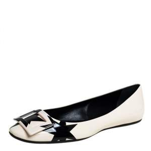 Roger Vivier White/Black Patent Leather Gommette Ballet Size 40