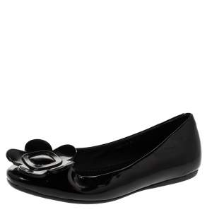 Roger Vivier Black Floral Applique Patent Leather Ballet Flats Size 39