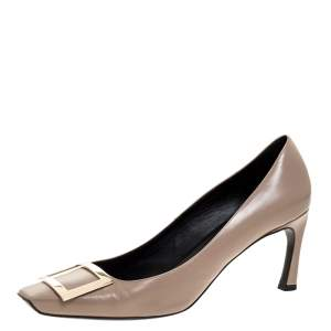 Roger Vivier Beige Leather Square Toe Pumps Size 40.5