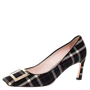 Roger Vivier Multicolor Tweed Fabric Trompette Buckle Pumps Size 39