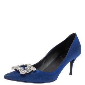 Roger Vivier Blue Glitter Fabric Flower Strass Crystal Embellished Pointed Toe Pumps Size 40
