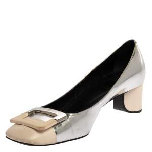 Roger Vivier 2 Tone Leather Buckle Square Toe U-Cut Heel Pump Size 38