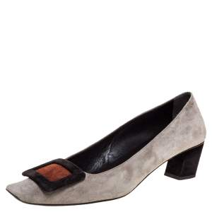 Roger Vivier Grey Suede Leather Belle Pumps Size 36