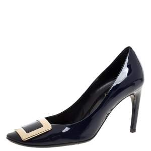 Roger Vivier Navy Blue Patent Leather Trompette Pumps Size 37