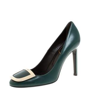 Roger Vivier Green Leather Trompette Pumps Size 37.5