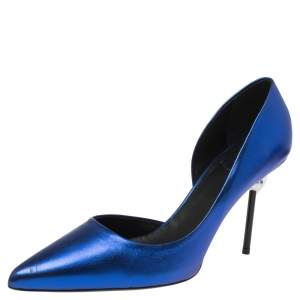 Roger Vivier Blue Leather D'orsay Pointed Toe Pumps Size 40