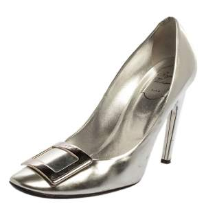Roger Vivier Silver Foil Leather Pumps Size 39.5