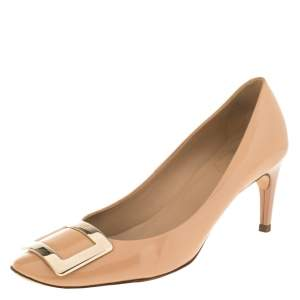 Roger Vivier Beige Leather Square Toe Pumps Size 39.5
