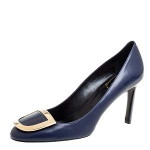 Roger Vivier Blue Leather Round Toe Pumps Size 38