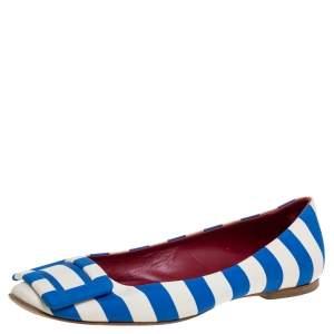 Roger Vivier Blue/White Satin Striped Ballet Flats Size 35.5