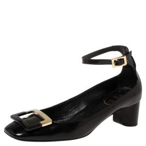 Roger Vivier Black Leather Buckle Detail Ankle Strap Pumps Size 38.5