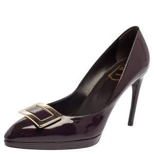 Roger Vivier Purple Patent Leather Belle Vivier Trompette Pumps Size 38.5