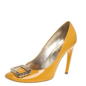 Roger Vivier Yellow Leather Buckle Embellished  Pumps Size 39