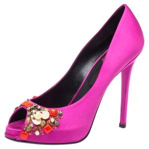 Roger Vivier Pink Satin Fuschia Embellished Peep Toe Pumps Size 39