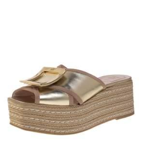 Roger Vivier Gold Leather Bikiviv Espadrille Wedge Platform Slide Sandals Size 40