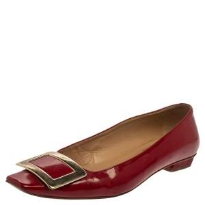 Roger Vivier Red Patent Leather Ballet Flat Size 36.5