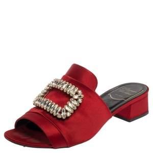 Roger Vivier Red Satin Crystal Embellished Slide Sandals Size 38