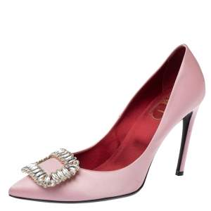 Roger Vivier Pink Embellished Satin Limelight Buckle Pumps Size 39