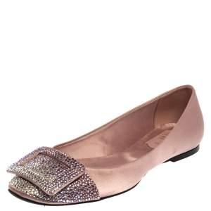 Roger Vivier Pink Satin Embellished Ballet Flats Size 37