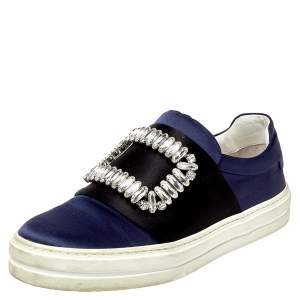 Roger Vivier Navy Blue/Black Satin Sneaky Viv Embellished Slip On Sneakers Size 35