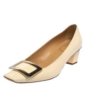 Roger Vivier Beige Patent Leather Belle Vivier Buckle Pumps Size 36.5