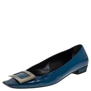 حذاء فلات باليه روجر فيفييه ترومبت جلد لامع أزرق مخضر مقاس 38.5