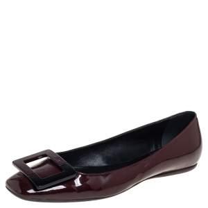 حذاء فلات روجر فيفييه جلد لامع بني مقاس 37.5