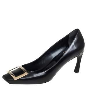 Roger Vivier Black Leather Belle Square Toe Pumps Size 40