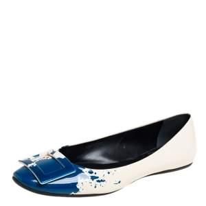 Roger Vivier White/Blue Splash Patent Leather Ballet Flats Size 40
