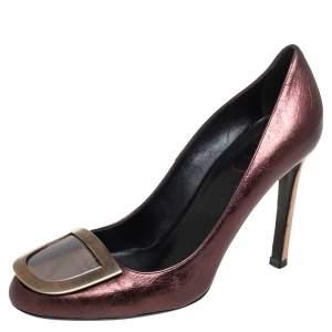 Roger Vivier Metallic Brown Leather Embellished Pumps Size 37