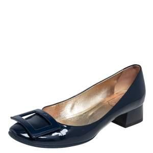 Roger Vivier Blue Patent Leather Buckle Block Heel Pumps Size 37.5
