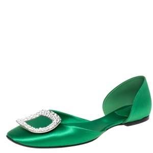 Roger Vivier Green Satin Crystal Embellished D'orsay Ballet Flats Size 39