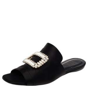 Roger Vivier Black Satin Tiffany Buckle Flat Slides Size 38.5