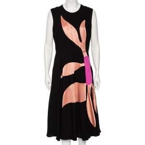 Roksanda Ilincic Black & Pink Detailed Silk Flared Midi Dress L