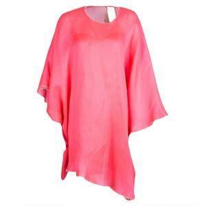Roksanda Ilincic Neon Pink Basketweave Oversized Poncho Style Tunic S