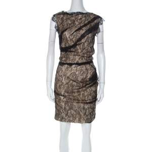 Roksanda Ilincic Black & Beige Lace & Silk Gather Detail Dress S